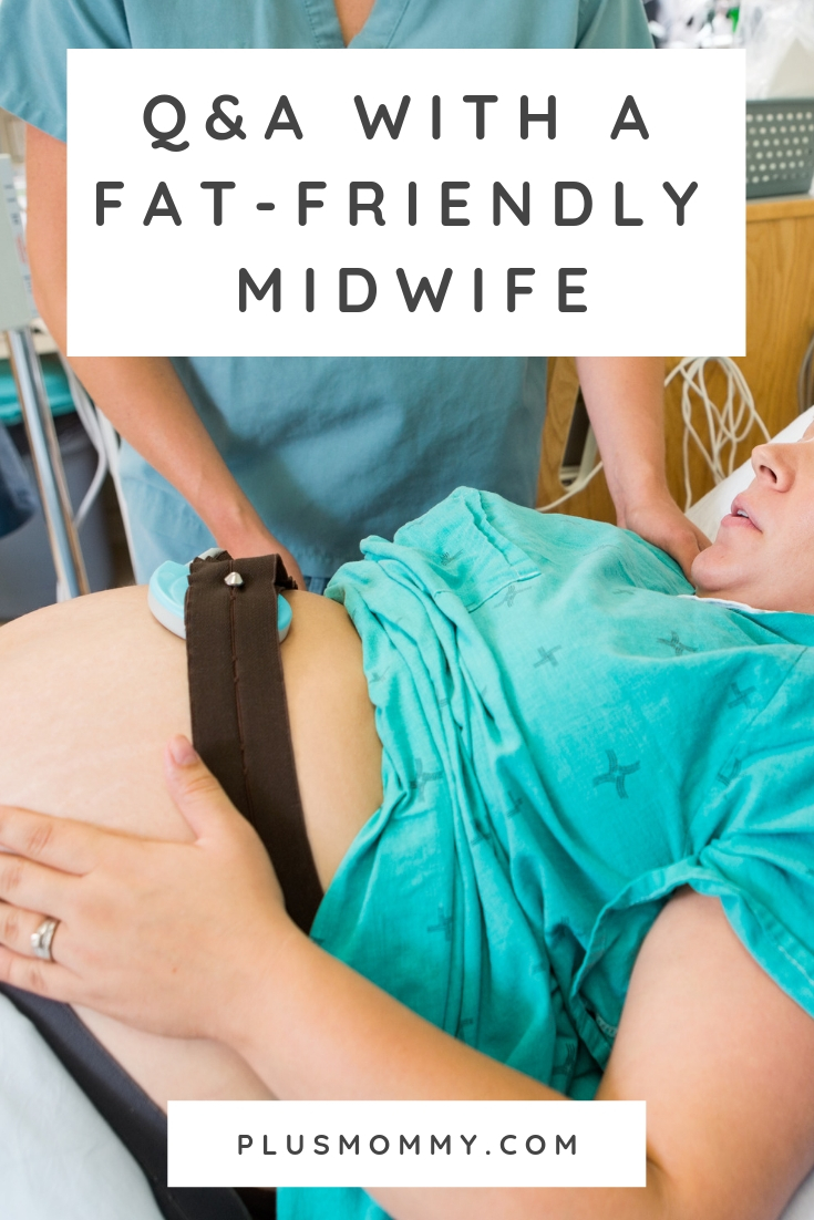 plus size pregnant woman and fat-friendly midwife