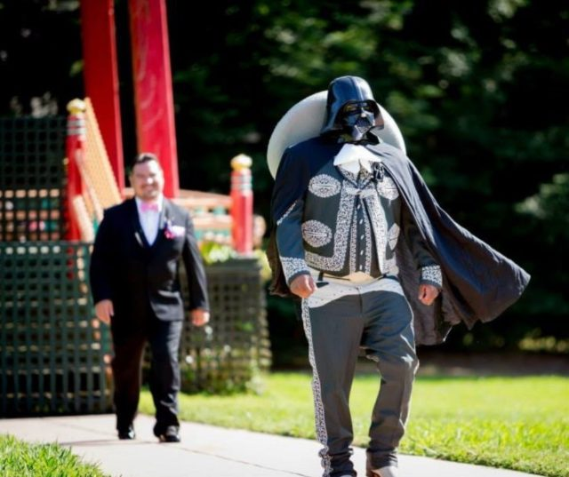 Sam' Reyes's husband on their wedding day as Darth Vader