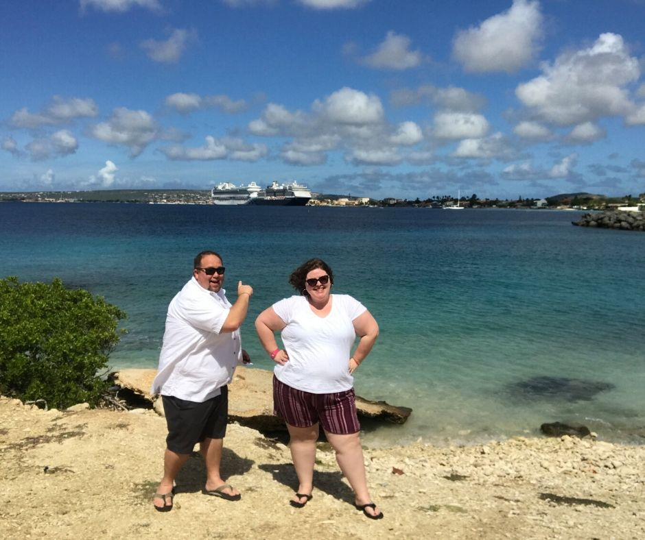 Picture of Jimmy and Amanda of Chubby And Away next to the coast
