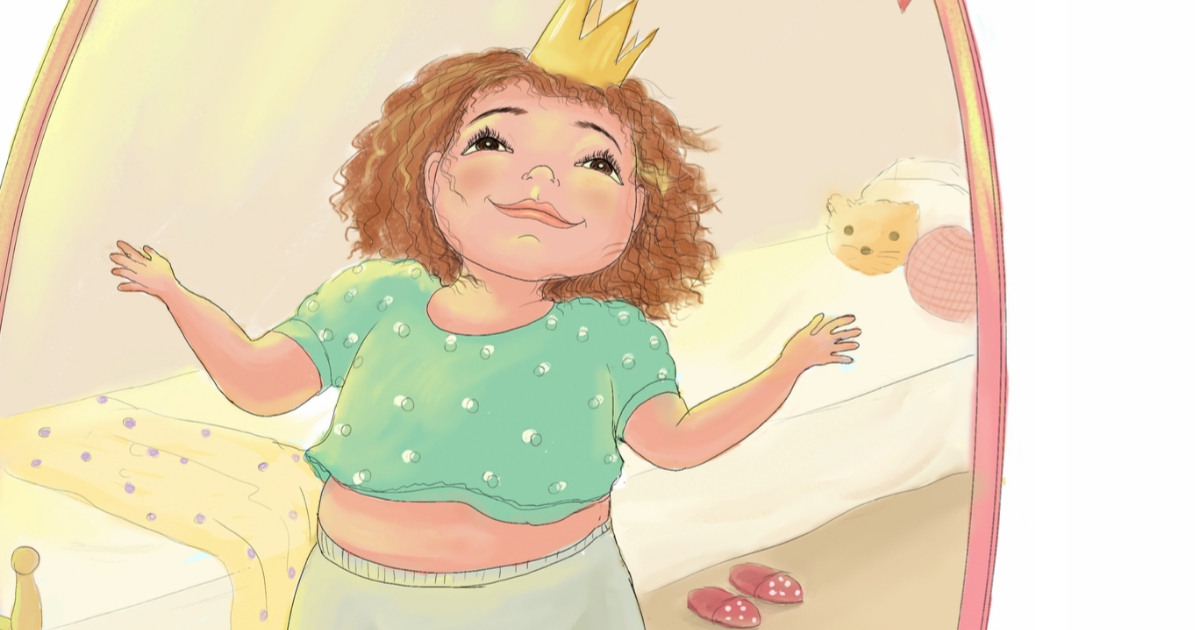 Her Body Can Body Positive Book For Kids with a girl looking in the mirror wearing a crown