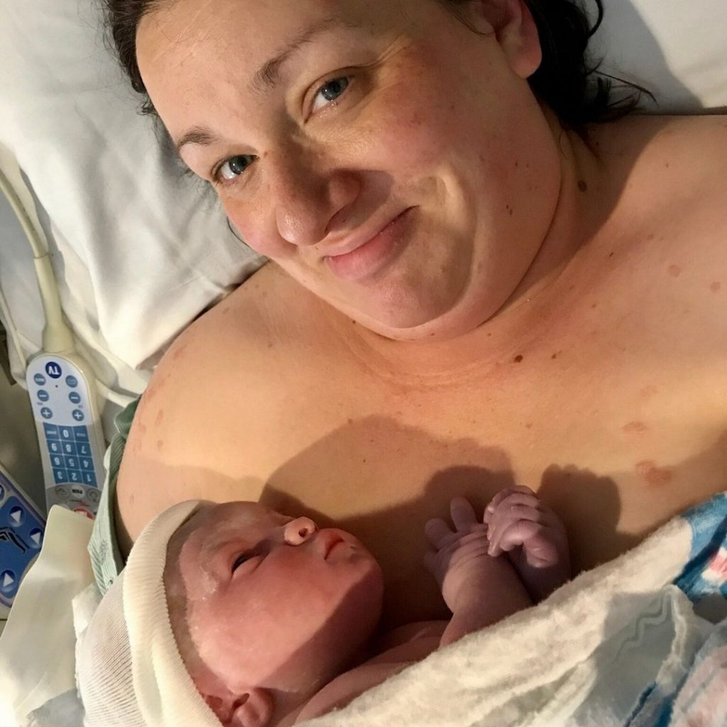 plus size woman after giving birth