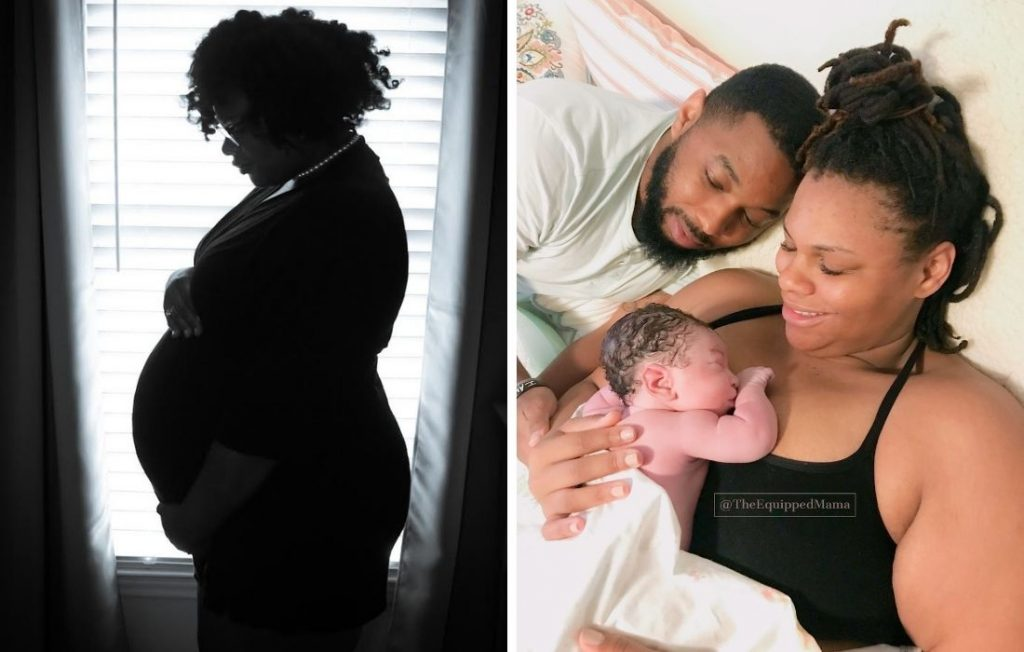plus size pregnant woman and family