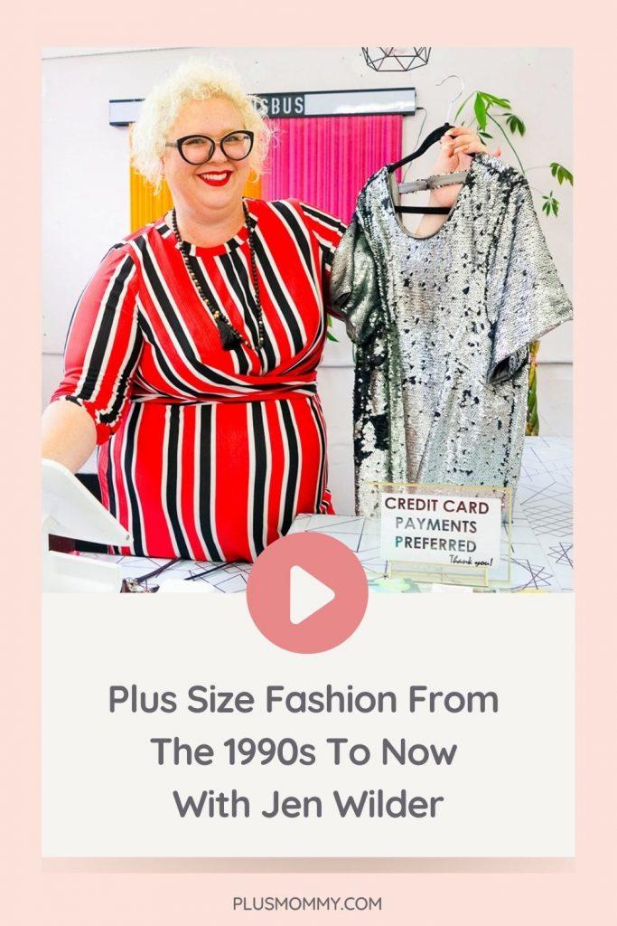 plus size designer Jen Wilder holding a dress