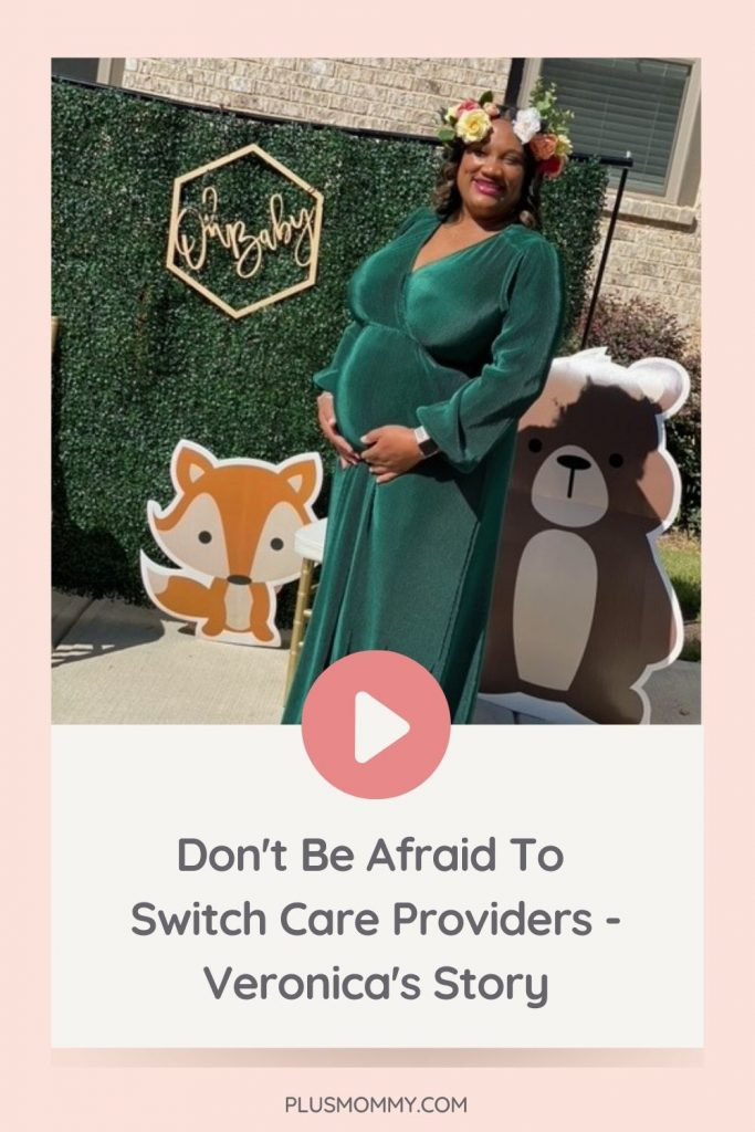 plus size pregnant woman wearing a green plus size maternity dress to her baby shower