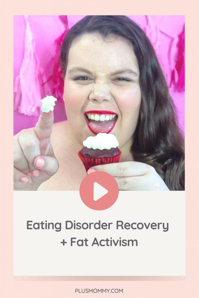 Plus size woman eating cupcake