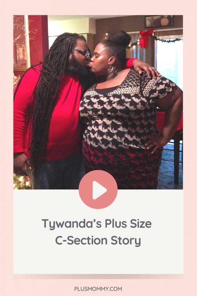 plus size pregnant woman kissing husband