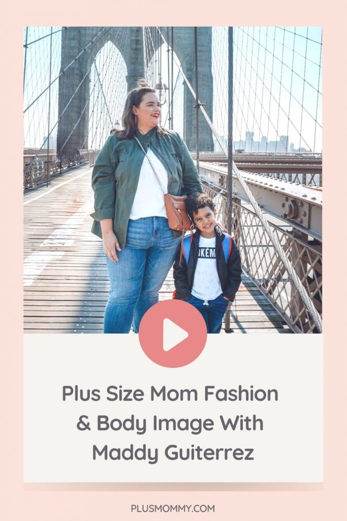 plus size mom and son standing on a bridge